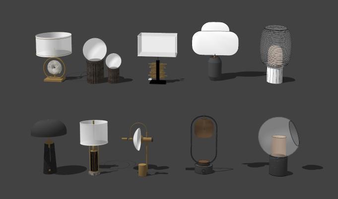 新中式台灯 床头灯组合