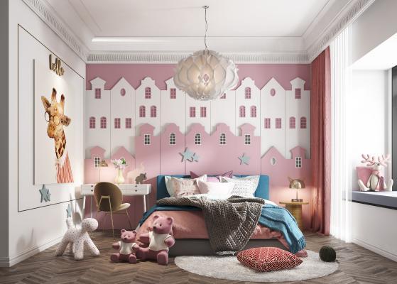 现代儿童房 女儿房 床