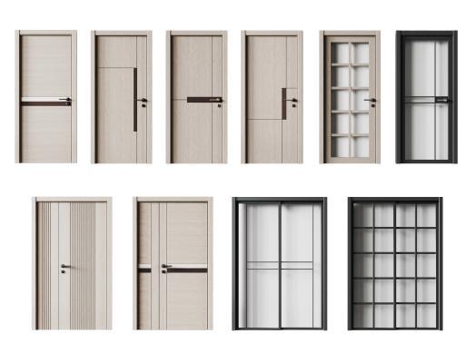 现代单开门 玻璃门