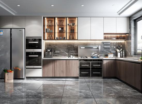 现代风格厨房橱柜 蒸烤箱 冰箱