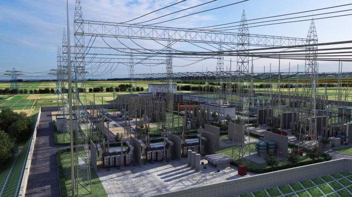 现代工业厂房 信号塔 工业设备