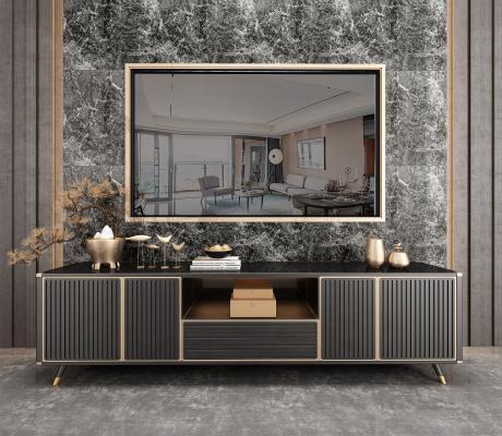 新中式电视柜 装饰品组合