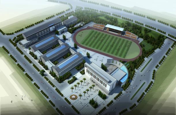 新中式学校 中学小学 教学楼