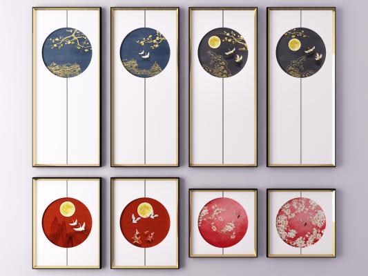 新中式花鳥工筆裝飾掛畫 風景畫 山水畫