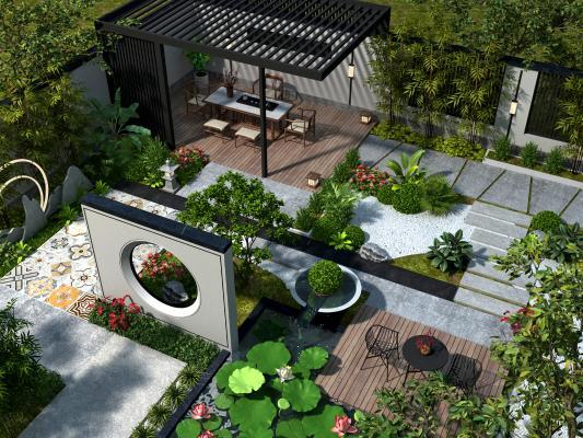 新中式別墅庭院花園