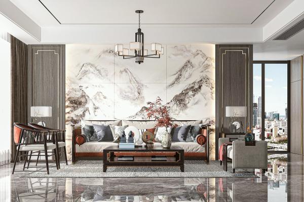 新中式客廳 多人沙發 休閑椅