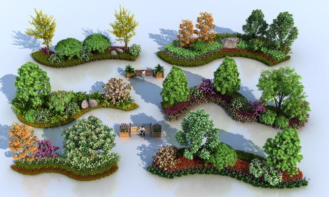 现代户外花槽树木 植物景观组合 植物组团
