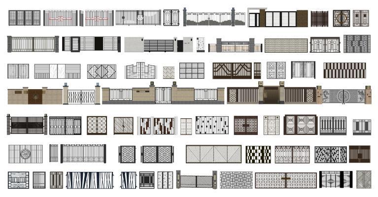 新中式铁艺大门 小院围栏 围墙组合