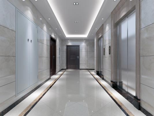 现代风格电梯间 防火门 电梯按钮