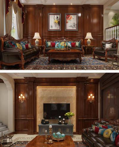 欧式古典沙发茶几电视背景墙电视柜
