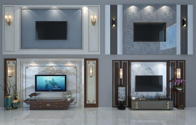 新中式電視背景墻