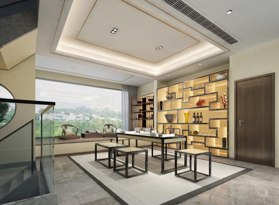 新中式极简书房