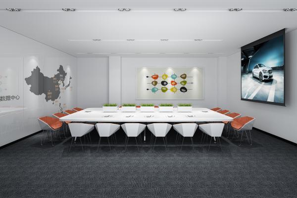 現代大型會議室 現代塊毯 白色會議桌