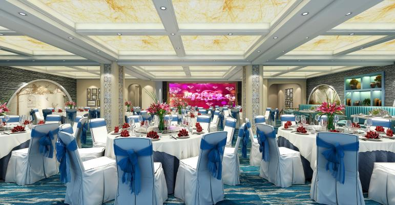 简欧宴会厅 酒店餐厅 圆形宴会餐桌