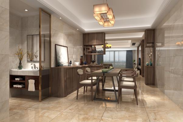 新中式客厅餐厅洗手台玻璃隔断餐具装饰画沙发吊灯柜子博古架壁灯通花隐藏门摆件背景边几餐桌椅台灯花瓶