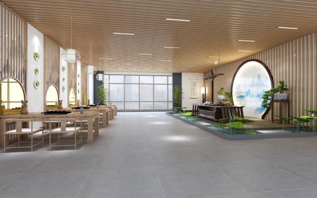 新中式茶厅 商业茶室 商业茶桌 茶具