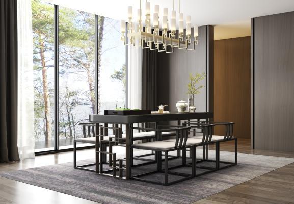 新中式实木茶桌椅 茶具 吊灯 饰品组合