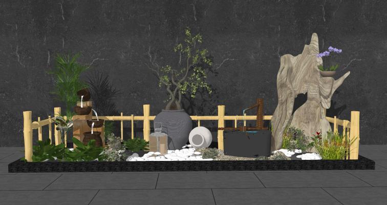 中式庭院景观小品 花瓶盆栽 假山水景