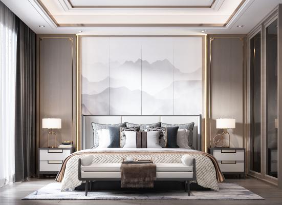 新中式卧室 台灯 床尾凳 壁画 衣柜 床头柜