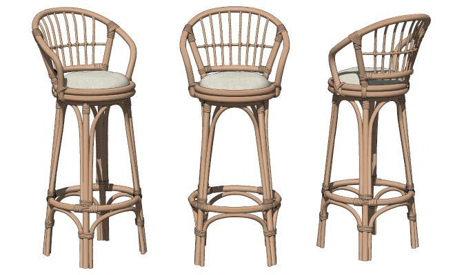 东南亚吧台椅 藤编吧椅 高脚凳