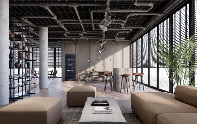 工业风办公室休闲区