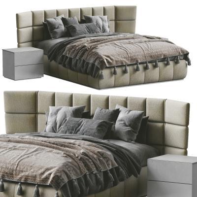現代雙人床 靠背 床頭柜