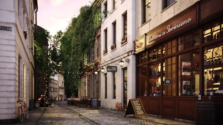 欧式城市小街道