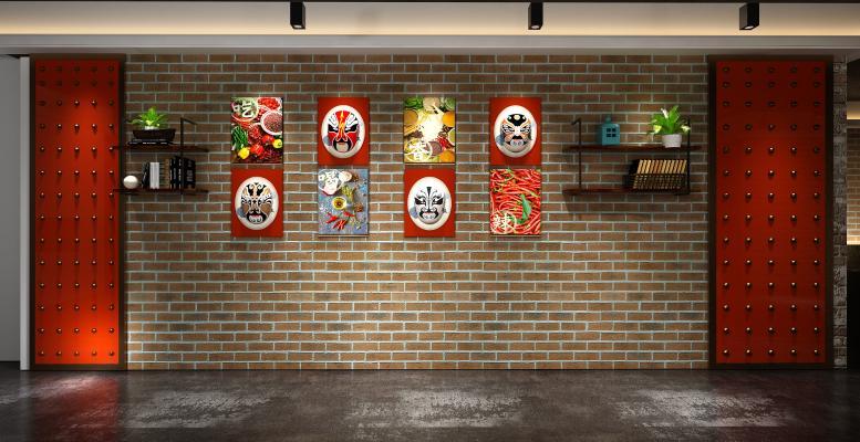 工业风脸谱造型墙