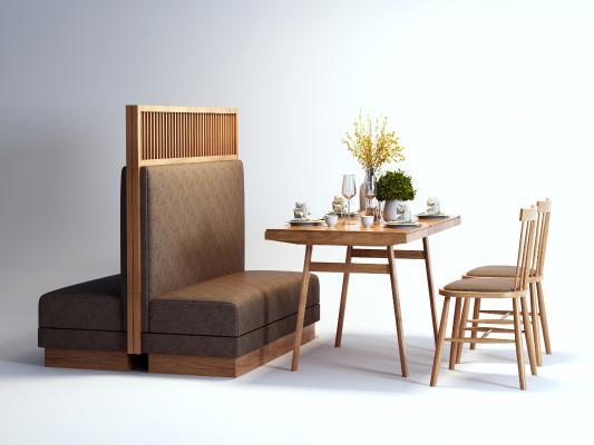 现代卡座 桌椅组合 餐桌椅
