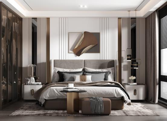 现代卧室 床组合 床头柜 衣柜 台灯 床尾凳 装饰品