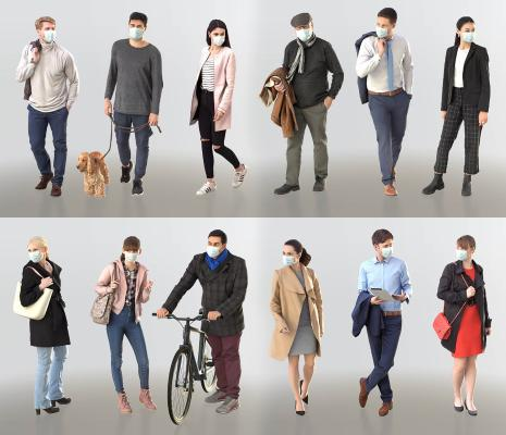 现代戴口罩男人女人组合