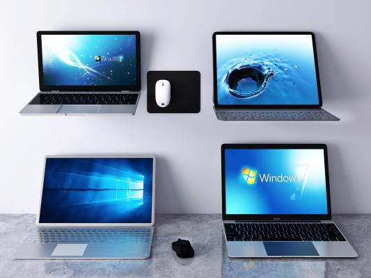 现代笔记本电脑 鼠标键盘 手提电脑