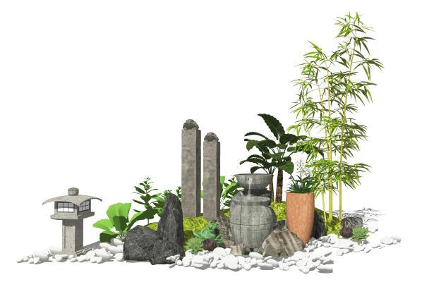 新中式庭院景观 景观小品 水景