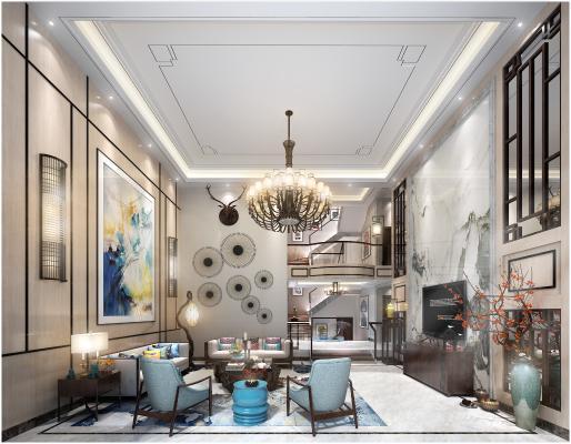 新中式复式客厅 沙发 吊灯