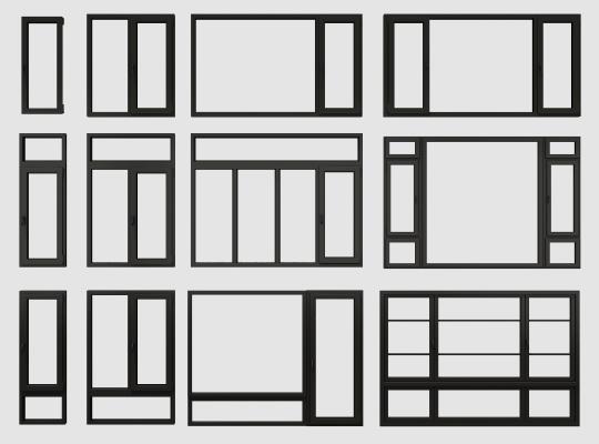 现代铝合金塑钢窗