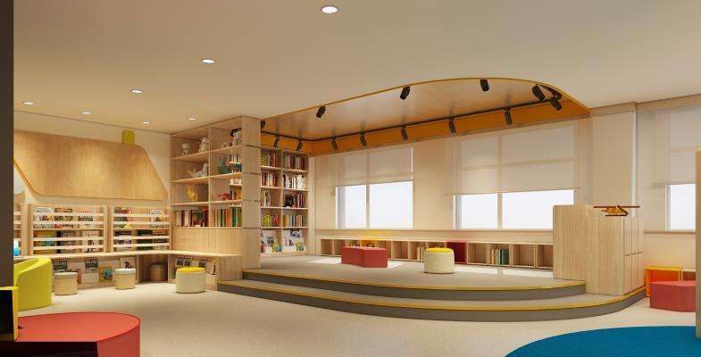 北欧风格图书馆 阅览室 吸顶灯 书柜