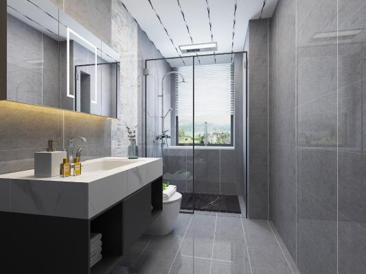 现代卫生间 浴室 镜子 浴室柜