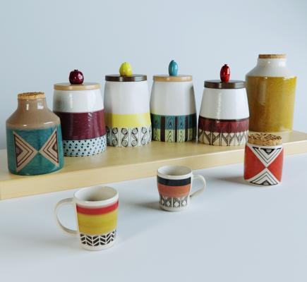 北欧厨房用品 陶罐 调料瓶 茶杯