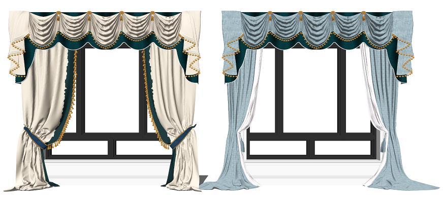 欧式窗帘 铝合金窗组合