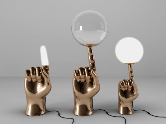 现代金属创意手指落地灯