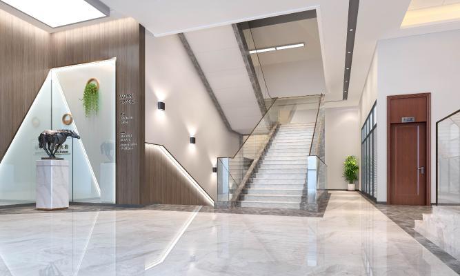 现代办公楼梯口 灰色木饰面 工艺雕塑