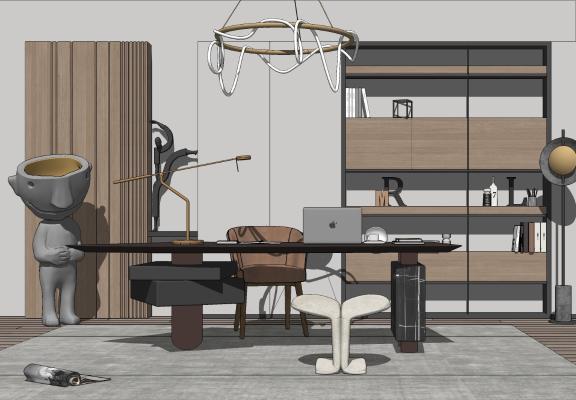 现代书房 书桌椅组合 吊灯