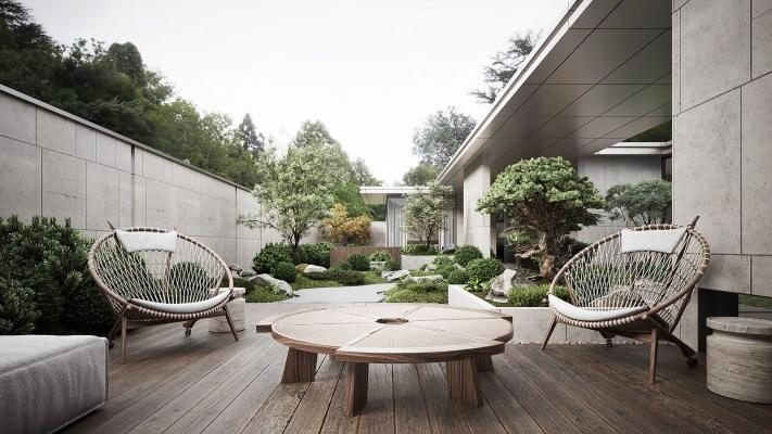现代花园阳台