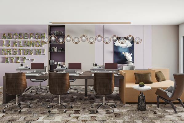 现在办公桌椅 吊灯组合 办公用品