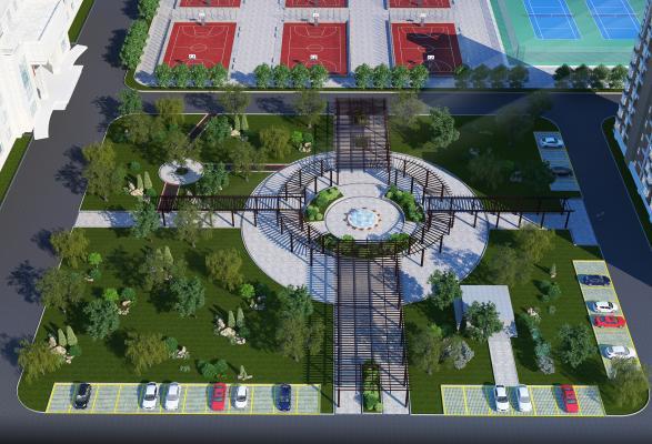 现代花园建筑鸟瞰