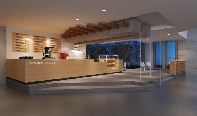 现代简约咖啡厅 吧台