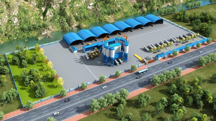 现代工业厂房外观 拌合站