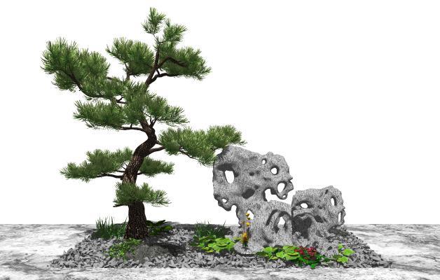 新中式庭院景观 景观小品