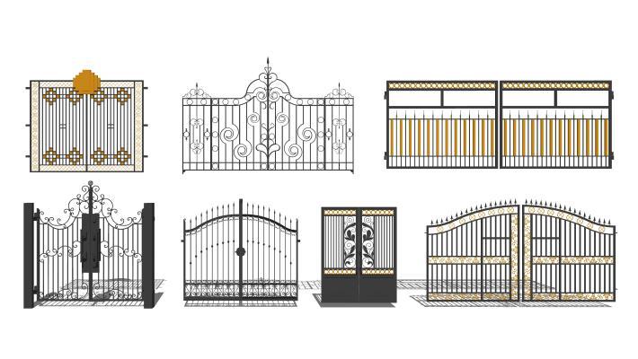 欧式铁艺花园大门组合