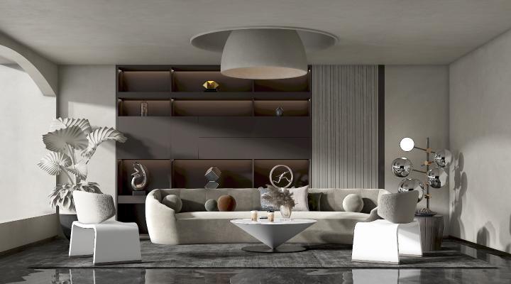 现代客厅 多人沙发 凳子 台灯 茶几 角几